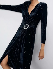 Fashion Black V-neck Dress With Shiny Velvet And Belt