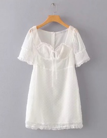 Fashion White Jacquard V-neck Fungus Lace Tie Dress