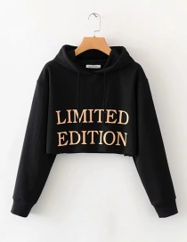 Fashion Black Hooded Short Letter Sweatshirt