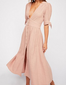 Fashion Pink Pleated Deep V-neck Buttoned Panel Long Dress