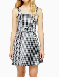 Fashion Black Houndstooth Suspender Dress With Belt