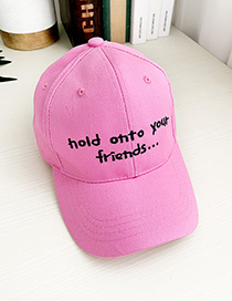 Fashion Alphabet Pink Canvas Adult Peaked Cap