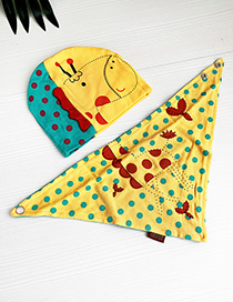 Fashion Yellow Children's Cartoon Hat Bib Suit