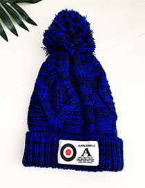 Fashion Royal Blue Knitted Wool Ball Adult Hat