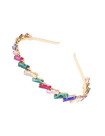 Fashion Color Inlaid Glass Diamond Geometric Alloy Hair Hoop