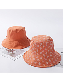Fashion Orange Lettering Cotton Fisherman Hat On Both Sides