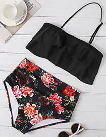 Fashion Black Printed Ruffled Plus Size High Waist Split Swimsuit