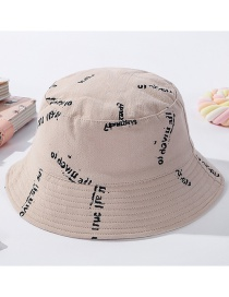 Fashion Beige (kids) Lettering Cotton Children's Fisherman Hat On Both Sides