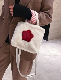 Fashion White Plush Five-pointed Star Hit The Color Messenger Bag