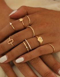 Fashion Golden Love Pendant Geometric Ring Set