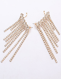 Fashion Golden Alloy Diamond Tassel Earrings And Ear Clips