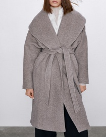 Fashion Beige Long Coat With Belt Wool Lapel
