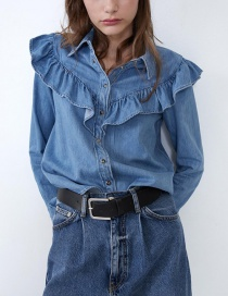 Fashion Blue Ruffled Panel Denim Shirt