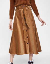 Fashion Khaki Breasted Corduroy With Belt Bow Skirt