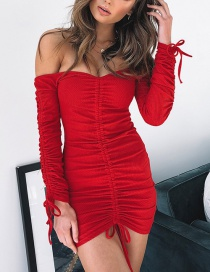 Fashion Red Drawstring Shoulder Pleated Tube Top Dress