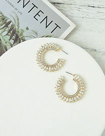 Fashion Bright Gold Geometric C-shaped Stud Earrings With Diamonds