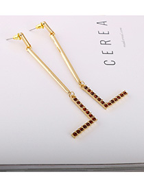 Fashion Golden Geometric Long Earrings With Diamonds