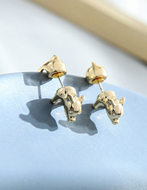 Fashion Golden Piggy Geometric Earrings With Diamonds