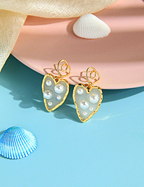 Fashion Golden Transparent Love Pearl Hollow Irregular Earrings