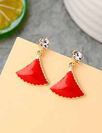 Fashion Red Geometric Enamel Glazed Skirt Scallop Earrings