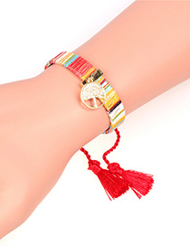 Fashion Red Micro-set Zircon Tree Of Life Tassel Bracelet