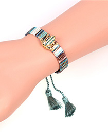Fashion Blue Tassel Micro-set Zircon Frog Toad Bracelet