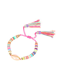 Fashion Color Drip Shell Contrast Soft Clay Hand-woven Tassel Bracelet