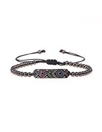 Fashion Black Cubic Zirconia Gold Plated Beaded Bracelet With Micro Diamonds