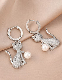 Fashion Silver Cat And Pearl Geometric Earrings With Diamonds