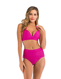 Fashion Rose Red Triangle High Waist Hard Cup Pleated Split Swimsuit