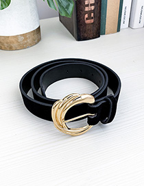 Fashion Black Alloy Pu Fleece Belt