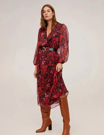 Fashion Red Floral Print Mesh Dress With Leather Belt