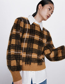 Fashion Yellow Plaid Houndstooth Crew Neck Sweater