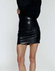 Fashion Black Ruched Faux Leather Miniskirt