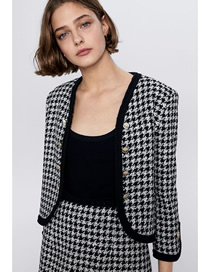 Fashion Black And White Tweed Button-down Coat