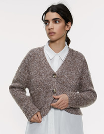 Fashion Coffee Color Interwoven Pocket Breasted Knit Coat