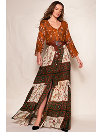 Fashion Brown Panel Print Round Neck Long Sleeve Dress With Belt Slit