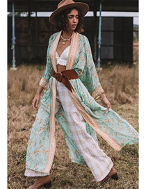 Fashion Green Printed Split Sunblock Cardigan Shawl