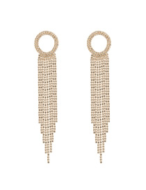 Fashion Golden Diamond Ring Hollow Tassel Claw Chain Earrings