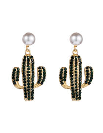 Fashion Black Alloy Diamond Cactus Pearl Stud Earrings