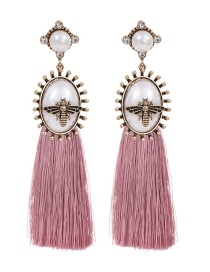 Fashion Leather Pink Alloy Pearl Round Bee Stud Earrings