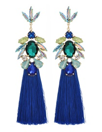 Fashion Royal Blue Alloy Rhinestone Drop Fringe Stud Earrings