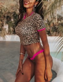 Fashion Leopard Print Leopard-print Short-sleeved Split Swimsuit