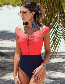 Fashion Red One Piece Swimsuit With Contrast Ties