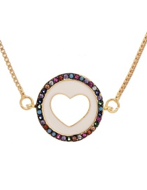 Fashion Golden Cubic Zirconia Hollow Love Necklace