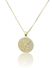Fashion Gold-plated Gold-plated Diamond Knight Geometric Round Necklace