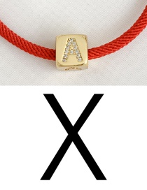 Fashion X Red Cubic Zirconia Alphabet Woven Rope Bracelet