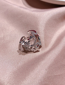 Fashion Silver Star-studded Wide-open Knit Ring With Diamonds
