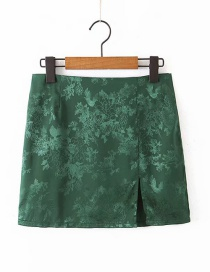 Fashion Green Jacquard Satin Split Skirt
