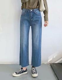 Fashion Denim Blue Stretch Frayed Straight-leg Loose-fit Loose Jeans